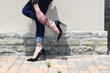 Black Saffiano Patent High Heel (100mm) modeled at Cascina Langa, Piedmont , Italy.