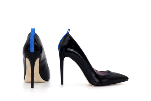 Italian Handmade Black Saffiano Patent High Heel (100mm) Rear and side view.