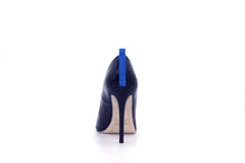 Italian Handmade Black Saffiano Patent High Heel (100mm) Rear view.