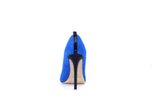 Italian Handmade Blue Suede High Heel (100mm) Rear view.