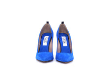 Italian Handmade Blue Suede High Heel (100mm) Front view.
