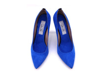 Italian Handmade Blue Suede High Heel (100mm) Toe shape view.