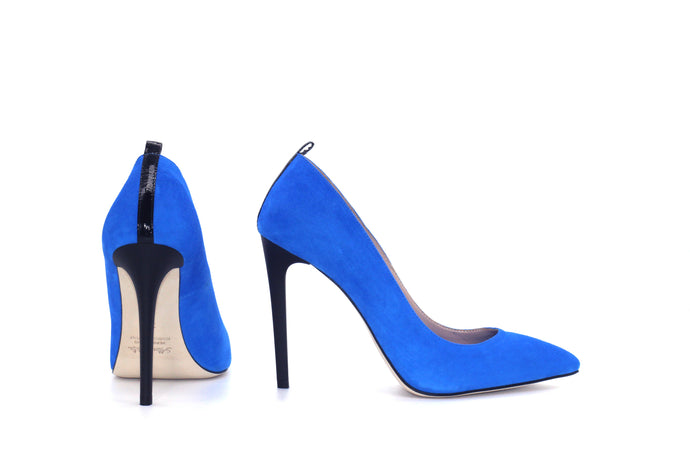 Italian Handmade Blue Suede High Heel (100mm) Rear and side view.