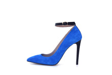 Italian Handmade Blue Suede Ankle Strap High Heel (100mm) Side view.