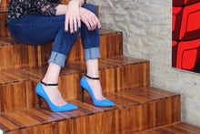 Blue Suede High Heel (100mm), modeled at Cascina Langa, Piedmont, Italy.
