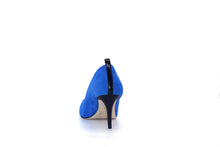 Italian Handmade Blue Suede Mid Heel (70mm) Rear view.