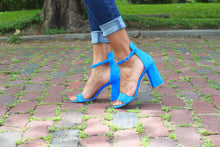 Blue Suede Ankle Strap Sandal (90mm) modeled on antique brick streets in Houston, Texas.