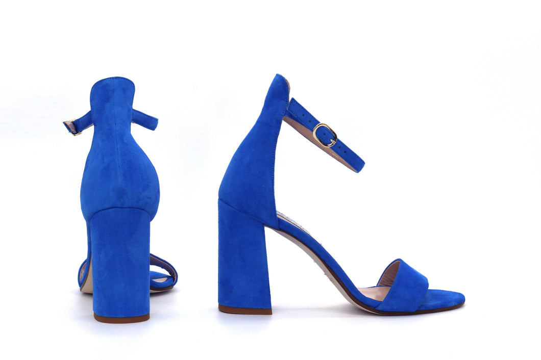 Italian Handmade Blue Suede Ankle Strap Sandal (90mm) Rear and side view.
