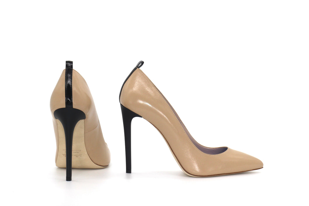 Italian Handmade Nude Napa Leather High Heel (100mm) Rear and side view.