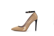 Italian Handmade Nude Napa Leather Ankle Strap High Heel (100mm) Side view.