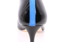 Italian Handmade Black Saffiano Patent Mid Heel (70mm) Rear detailed view.