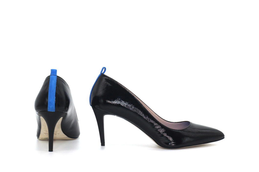 Italian Handmade Black Saffiano Patent Mid Heel (70mm) Side and rear view.
