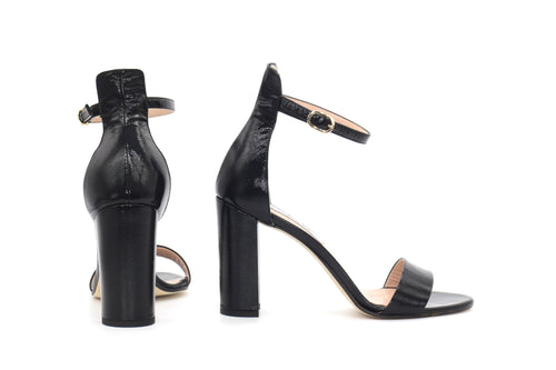 Black Saffiano Patent Leather Ankle Strap Sandal (90mm) Rear and side view.