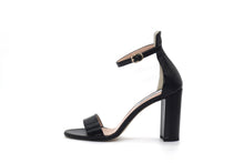 Black Saffiano Patent Leather Ankle Strap Sandal (90mm) Side view.