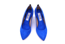 Italian Handmade Blue Suede Mid Heel (70mm) Toe shape view
