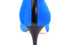 Italian Handmade Blue Suede Mid Heel (70mm) Rear detailed view.