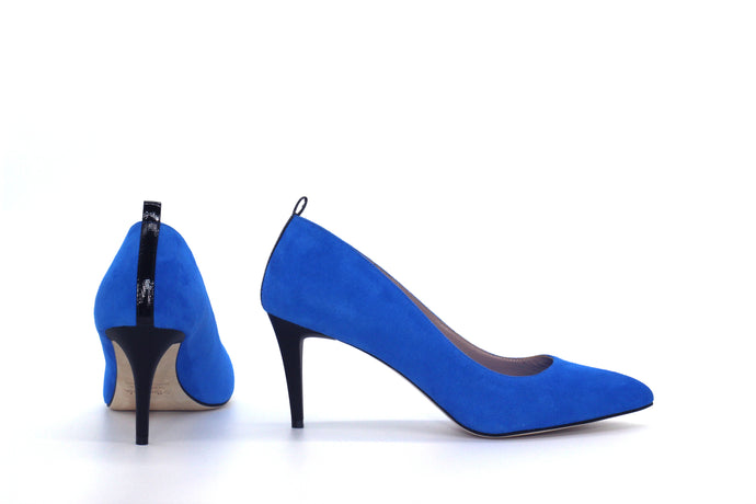 Italian Handmade Blue Suede Mid Heel (70mm) Back and side view.
