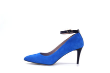 Italian Handmade Blue Suede Ankle Strap Mid Heel (70mm) Side view.