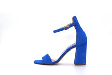 Italian Handmade Blue Suede Ankle Strap Sandal (90mm) Side view.