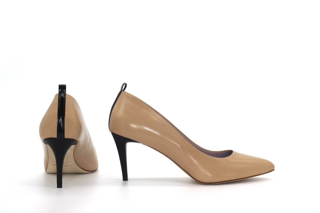 Italian Handmade Nude Napa Leather Mid Heel (70mm) Rear and side view.