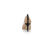 Italian Handmade Nude Napa Leather Mid Heel (70mm) Rear view.