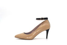Italian Handmade Nude Napa Leather Ankle Strap Mid Heel (70mm) Side view with strap.