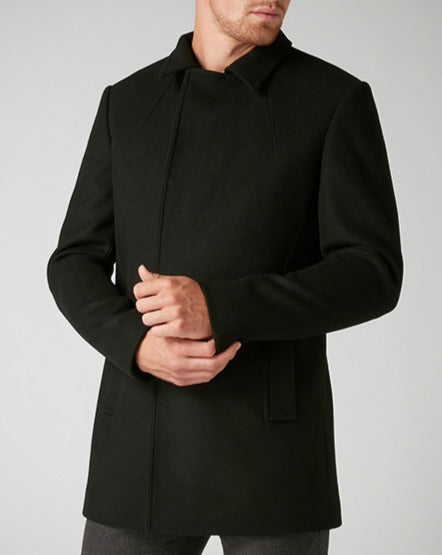 Remus Uomo Black Lohman Tailored Fit Wool Rich Overcoat