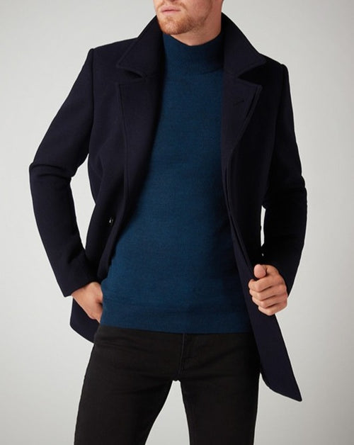 Remus Uomo Navy Lohman Tailored Fit Wool Rich Overcoat