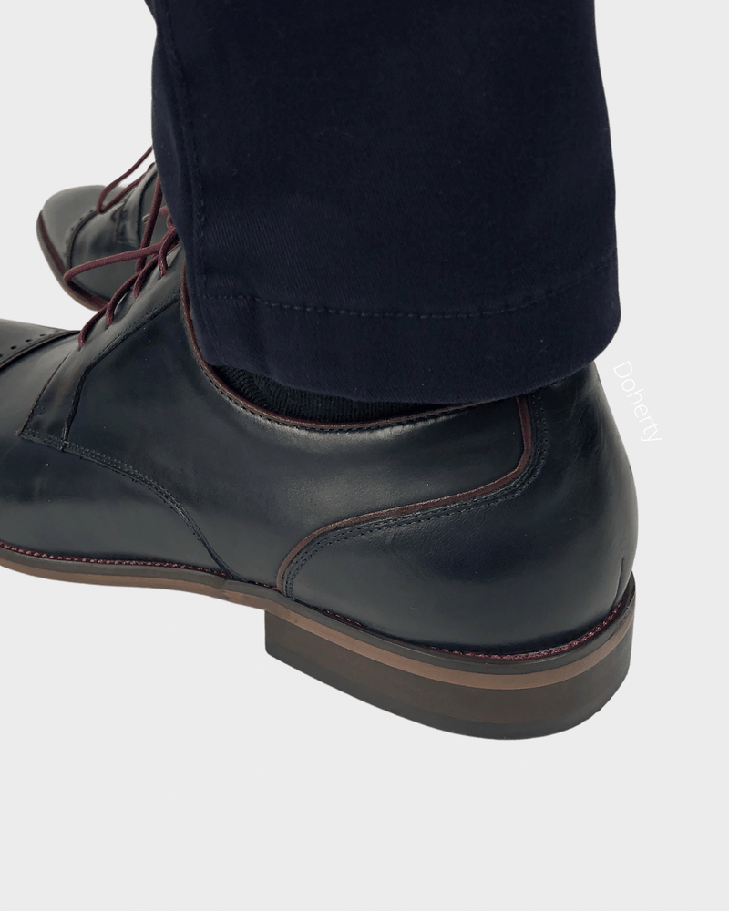 Navy Toecap Shoes with Brogue Detail
