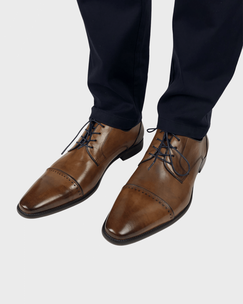 Tan Toecap Shoes with Brogue Detail