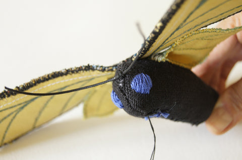 view of stitching the cord at center point above the eyes