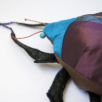 Beetle Coleoptera Textile Sculpture  Handmade from Plum and Blue Silk linen