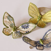 Set of Three Butterfly Hair Clips silk and cotton
