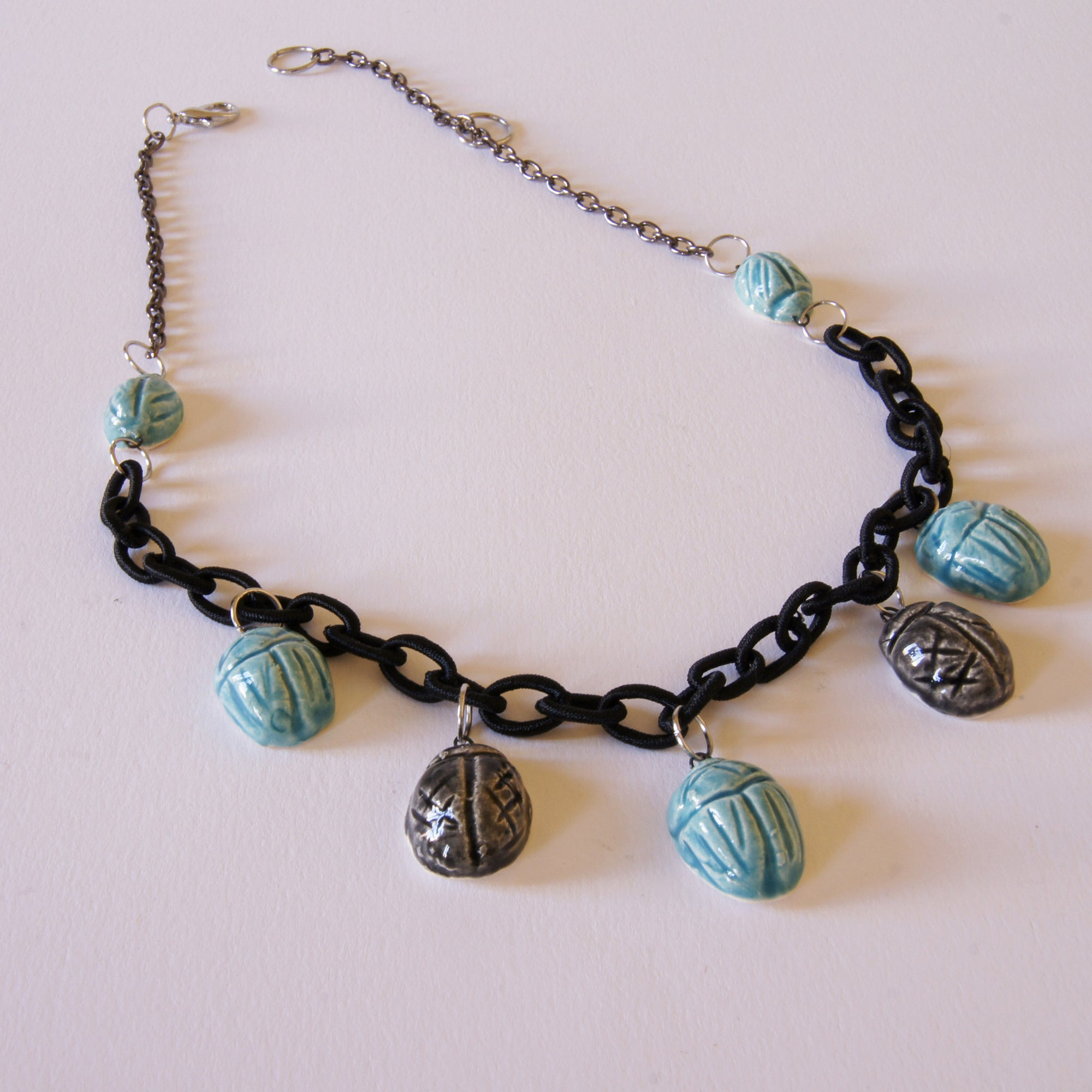 Egyptian Scarab Necklace Ceramic