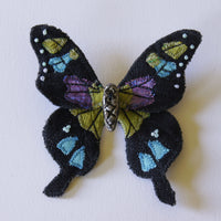 Purple Spotted Swallowtail Textile Butterfly Brooch