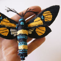 Tropical Moth Brooch fiber art Euchromia horsfieldi