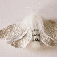 Furry Moth Brooch Leucoma Salicis Fake Fur Entomology Jewelry