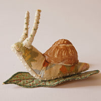 Fiber Art Snail Soft Sculpture with Ceramic Shell