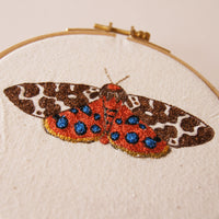 Embroidered Hoop Art Garden Tiger Moth Insect Fiber Art