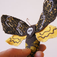Death's Head Hawk Sphinx moth  textile brooch