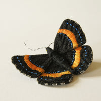 Fiber Art Brooch Metalmark Butterfly