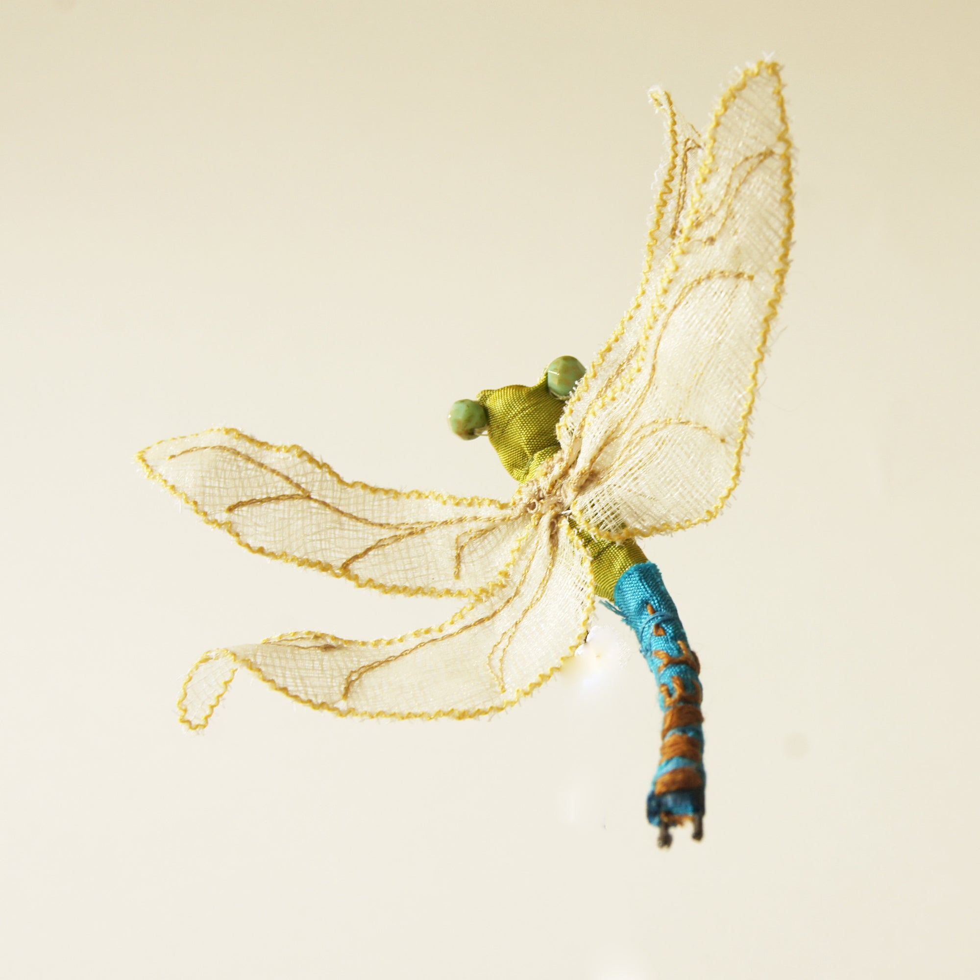 Green Darner Dragonfly Fiber Art brooch or hair fork