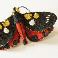 Scarlet Tiger Moth brooch fiber art entomology jewelry
