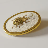 Golden Scarab hand embroidered brooch entomology jewelry