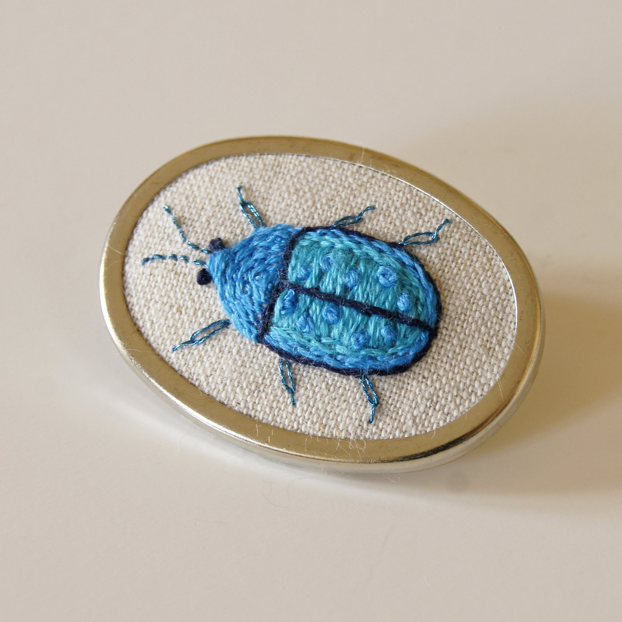 Tortoise Beetle brooch hand embroidered entomology jewelry
