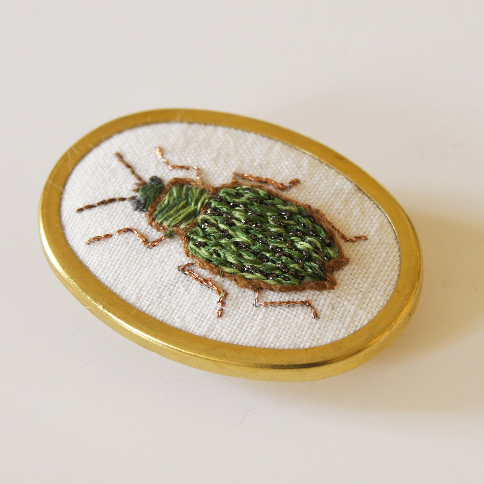 Ground Beetle Brooch Carabidae hand embroidered entomology jewelry