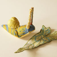 Soft Sculpture Snail with Ceramic Shell Fiber Art