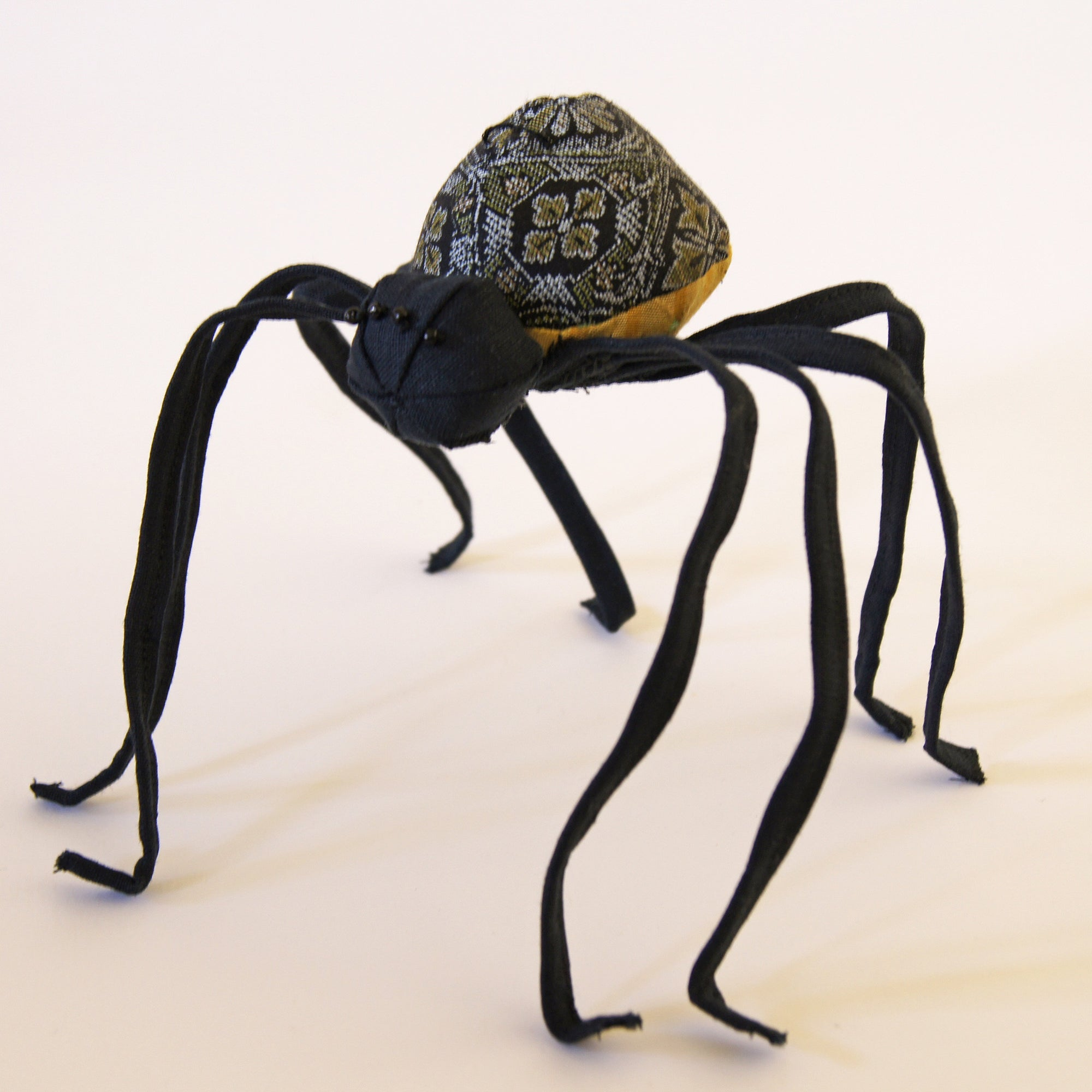 Spider Soft Sculpture Black Kimono Silk and Linen