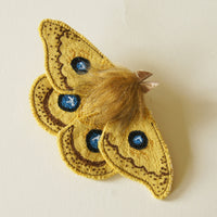 Silk Moth Tau Emperor Fiber Art Brooch Entomology Jewelry
