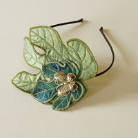 Fig Leaves headband fascinator in green and blue silk botanical accessory